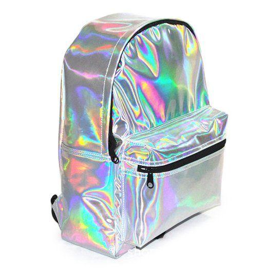 Zicac Mädchen Rucksack Laser Kunstlederrucksack Schultasche Handtasche für Reisen Photography usw. (Silber)