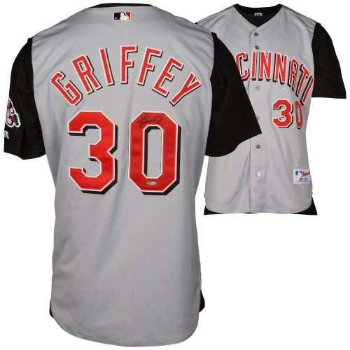 ken griffey jr cincinnati reds autographed gray jersey upper deck