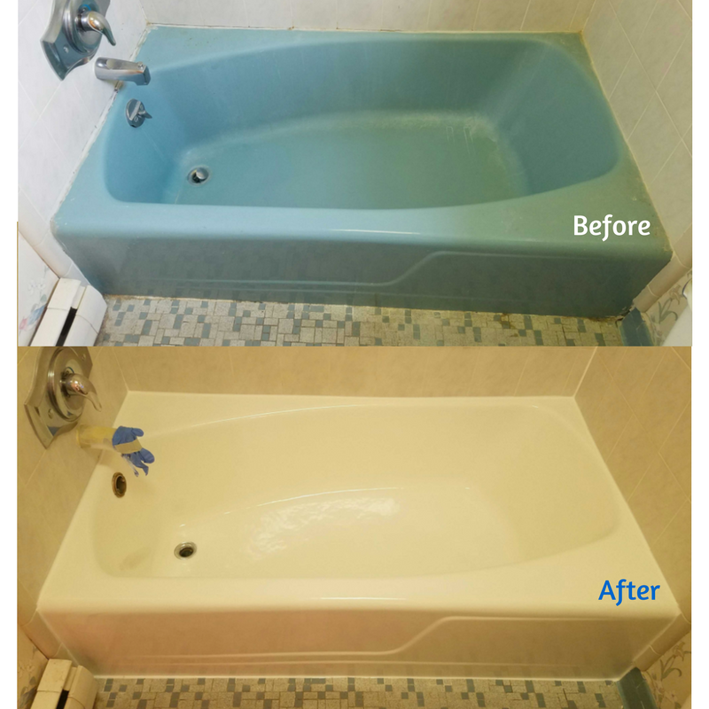 Updating bathroom with blue tub