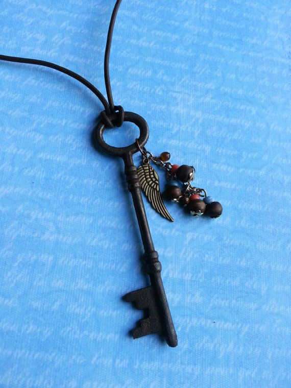 Antique Skeleton Key Necklace  Tribal Wings by FreeToBeCreations, $22.99
