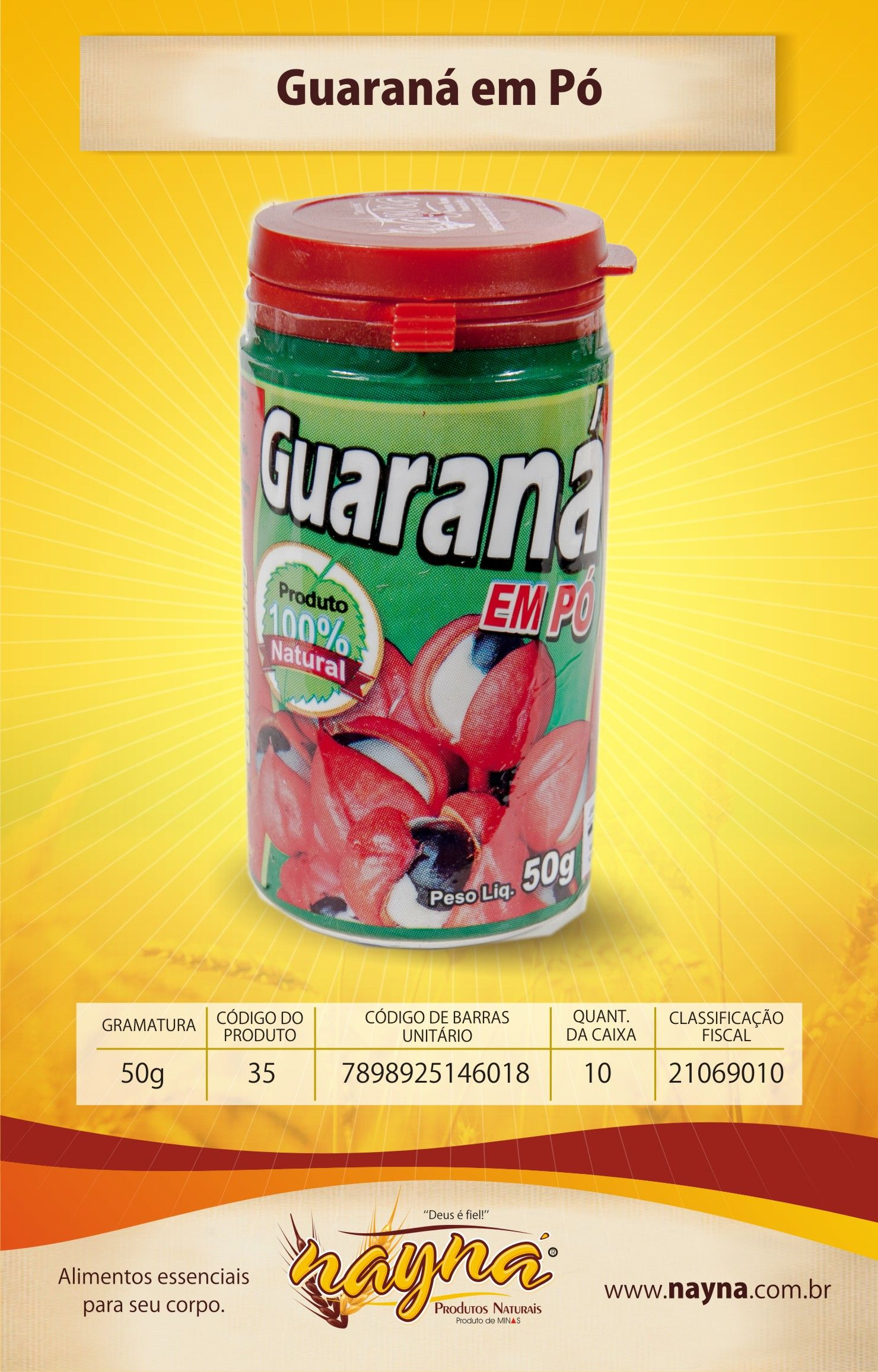 Guaraná em Pó Nayna 50gr