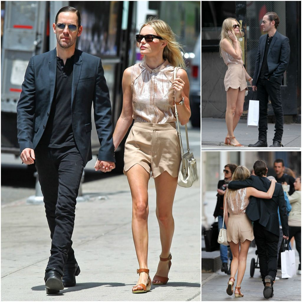 Kate Bosworth and boyfriend. love her scallop hem shorts