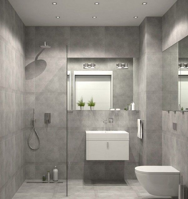 Bathroom Furniture Curbless Shower Glass Partition Wall Gray Wall Tiles Small Vanity Ensuite