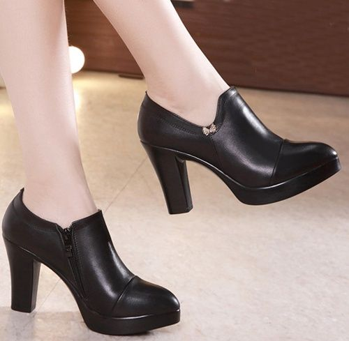 Office High Heel Elegant Leather Black Women Pumps Platform Shoes