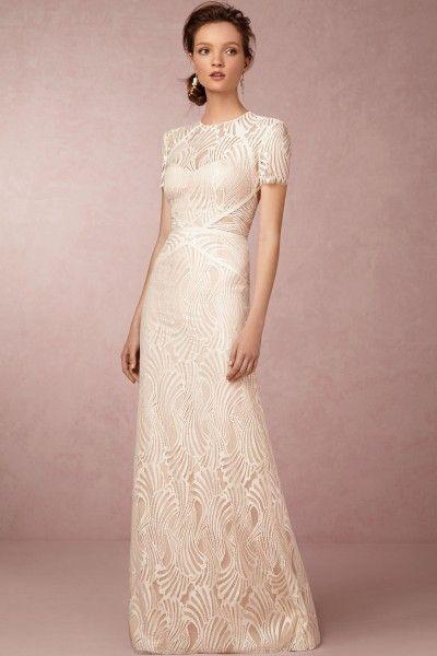 Trumpet Mermaid Jewel Sweep Brush Train Lace Fabric UK Wedding