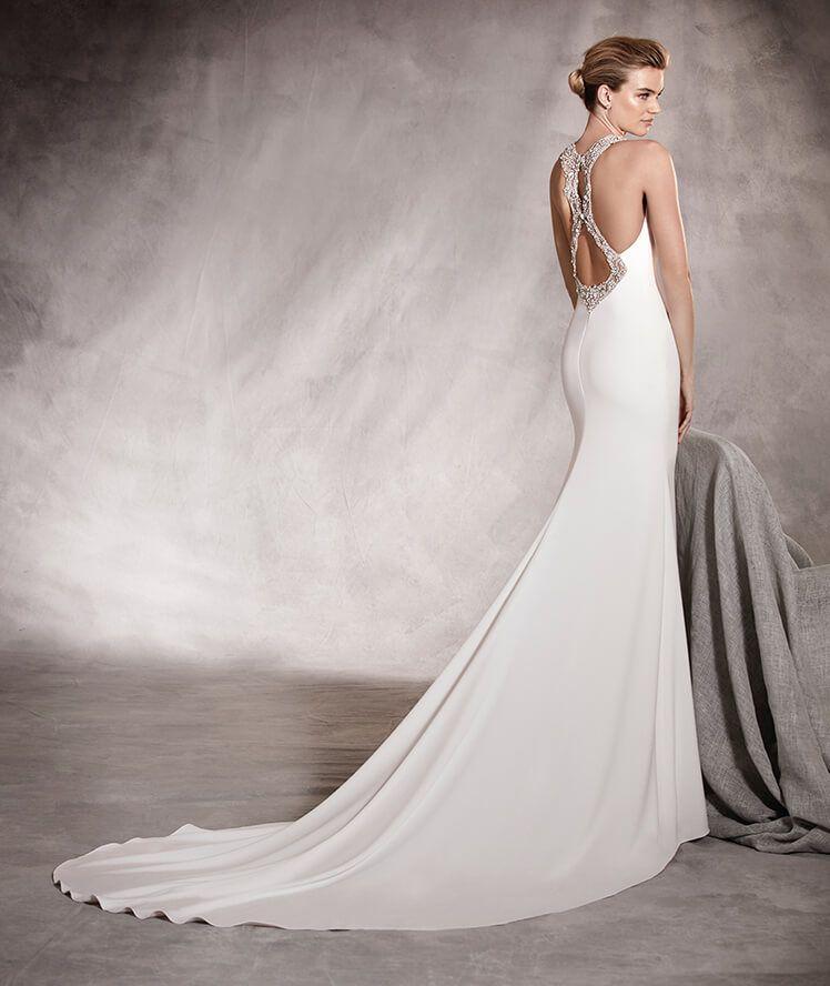 anoeta - vestido de novia corte sirena y escote en caja con