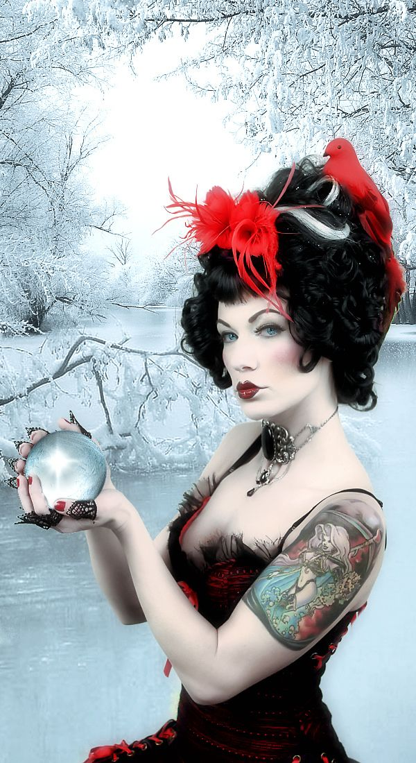 crystal ball pinup/fantasy/Gothic/geisha/makeup | Gros bisous, Bisous
