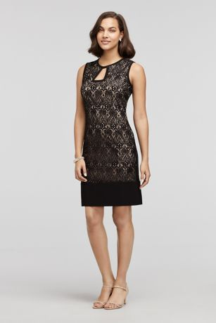 A dress fit for the occasion! This mother of the bride or groom dress is the perfect pick!  All over black lace with nude lining creates a timeless elegant look!  Key Hole detail adds to the glam factor of this dress.  Designed by R&M Richards.  Fully Lined, Back zipper. Imported.  Hand wash cold inside out. Do not Bleach. Lay Flat to dry and do not Iron or dry clean. To protect your dress, our Non Woven Garment Bag is a must have!