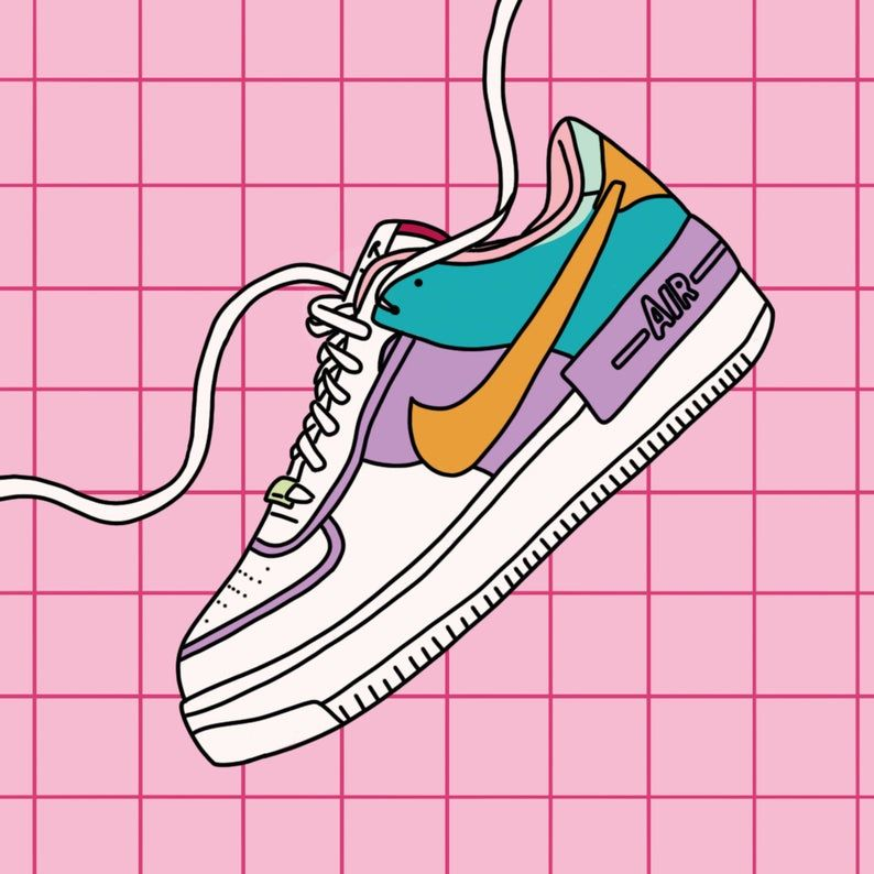 Illustration De Chaussures Nike Air Force 1 Pink Fashion Etsy Illustration De Chaussure Dessin Chaussure Chaussures Nike