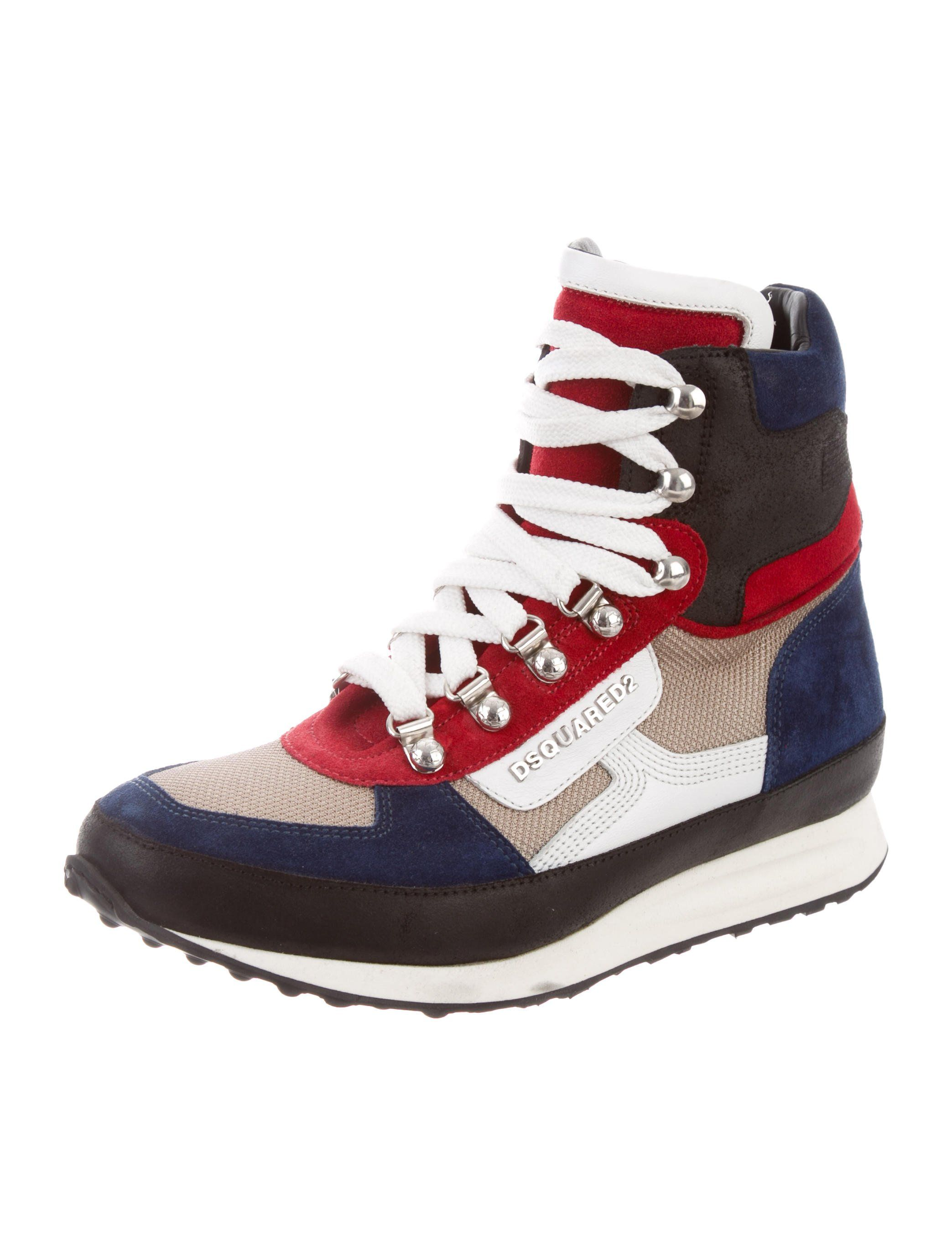 096a2d1e20d9 Multicolored suede Dsquared2 high-top sneakers with tonal stitching  throughout
