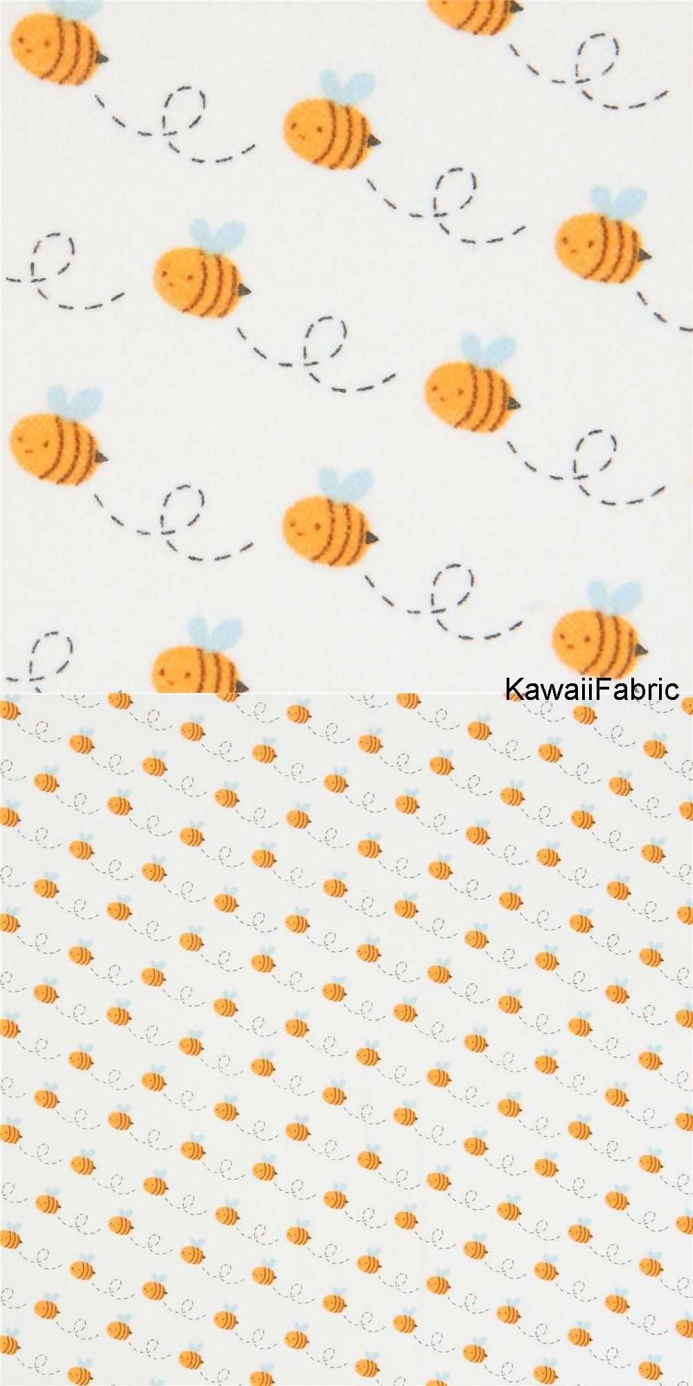 Cream Flannel Robert Kaufman Small Bee Insect Fabric Woodland Highway Kawaii Fabric Shop Small Bees Fabric Flannel Fabric