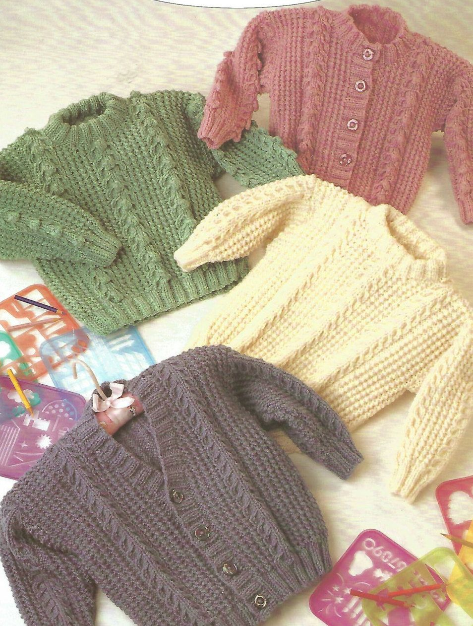Knitting Pattern Babies/Childrens Aran/Fisherman/12 Ply 4 Designs Cable ...