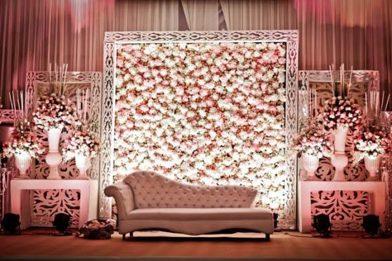 Indian wedding decor bride and grooms sofa stage backdrop in indian wedding decor bride and grooms sofa stage backdrop in pastel pink and white flowers in a huge white wooden frame stage decor ideas fo junglespirit Image collections