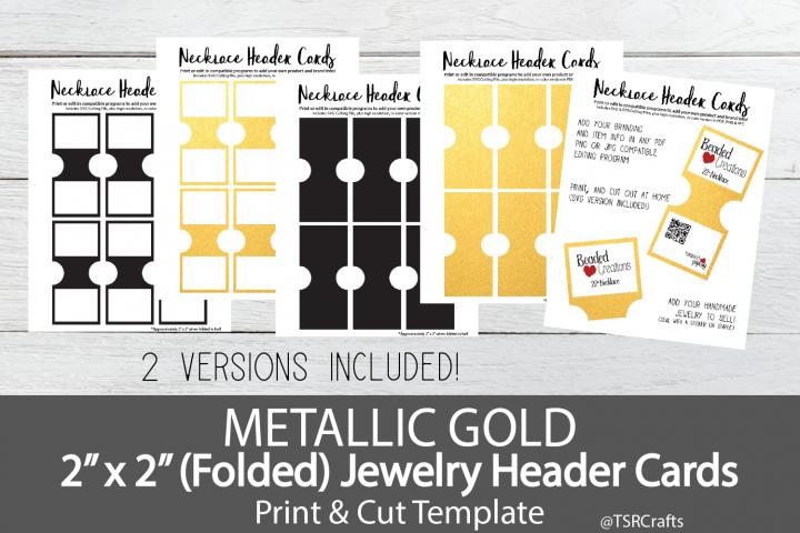 Jewelry Header Cards For Necklace Metallic Gold 154429 Customizable Templates Design Bundles Gold Metal Metallic Gold Color Card Set