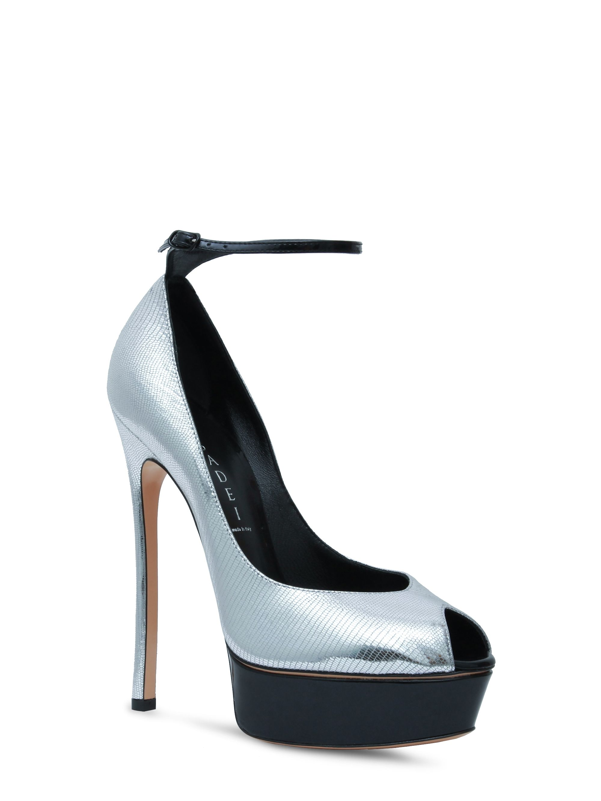 f1b9f58ea59 ... island platform pump in lizard effect silver leather and black glossy  patent leather with buckle fastening ankle strap. Leather covered stiletto  heel.