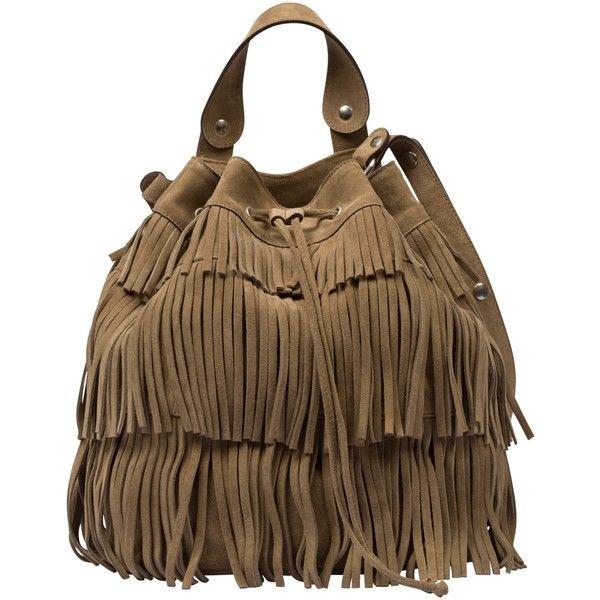 Gerard Darel Indie Fringed Suede Bucket Bag, Camel (£370) ❤ liked ...