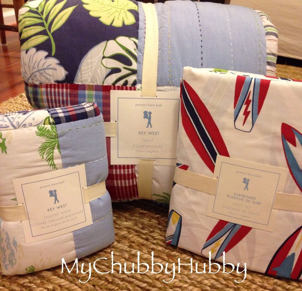 NWT Pottery Barn Kids KEY WEST Twin QUILT SHAM & Surfboard SHEET