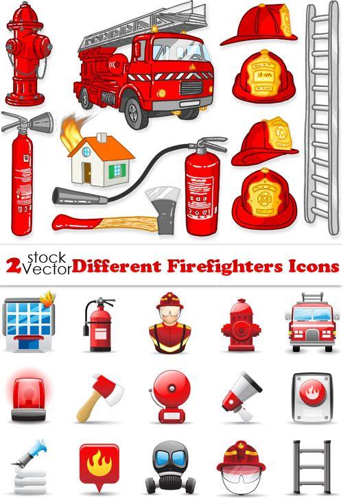 Защитные средства, инструменты пожарного - векторные иконки