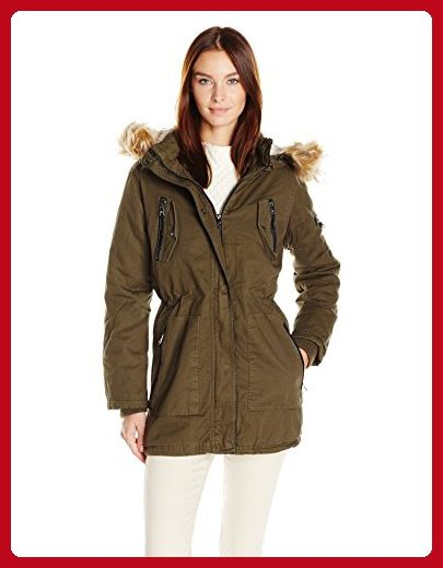 huge discount 1a044 992ca Steve Madden Women's Cotton Anorak with Zip Pockets, Olive ...