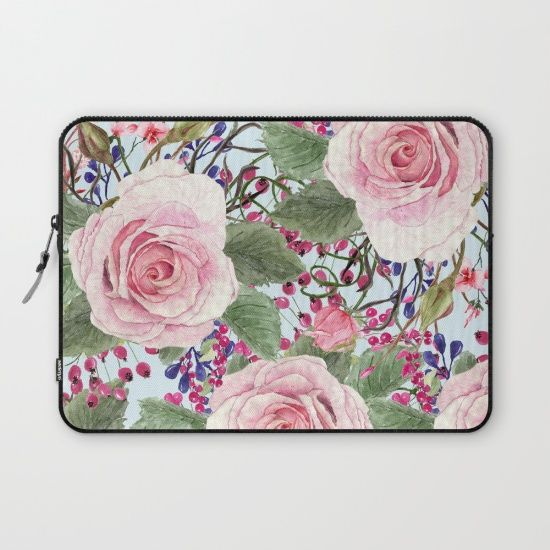 #pink #roses #flowers #floral #woman #girly #pretty #shabby #spring #laptopsleeve available in different #homedecor products. Check more at society6.com/julianarw