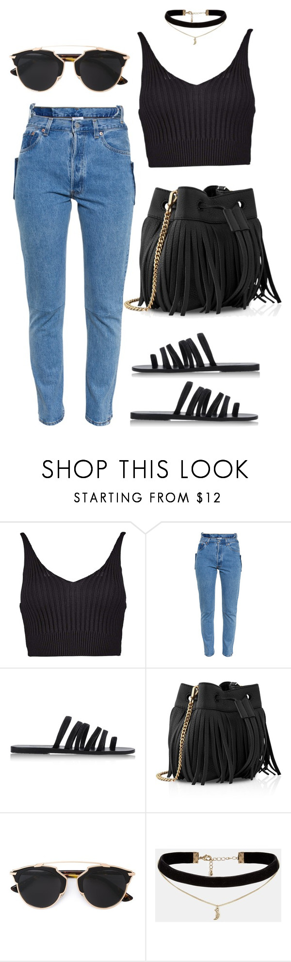 """Untitled #405"" by eaubleue ❤ liked on Polyvore featuring Boohoo, Vetements, Ancient Greek Sandals, Whistles, Christian Dior and ASOS"