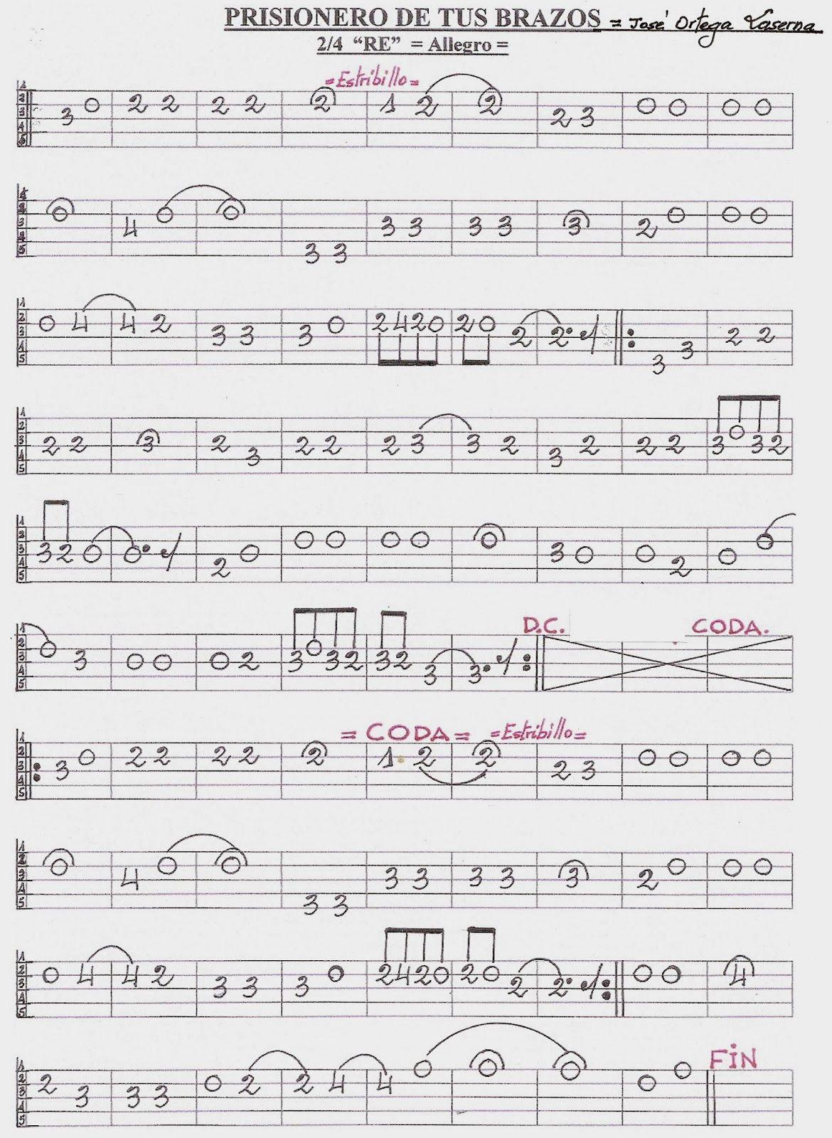 Partituras En Cifra Para Bandurria Y Laúd De José Ortega Laserna Enero 2014 Partituras Partituras De Piano Gratis Canciones Guitarra