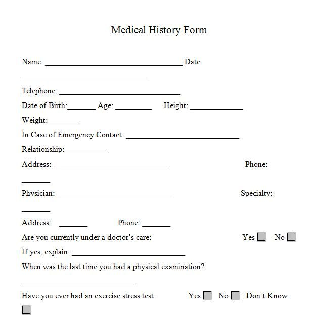 Health History Template Report Of Medical History Family Personal