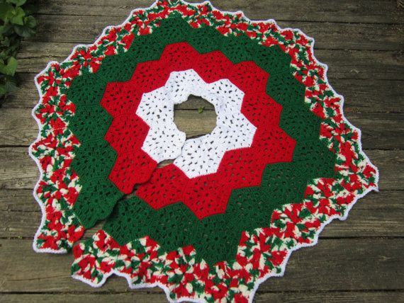 Christmas Tree Skirt Crocheted Granny Hexagons in Red Green and ...