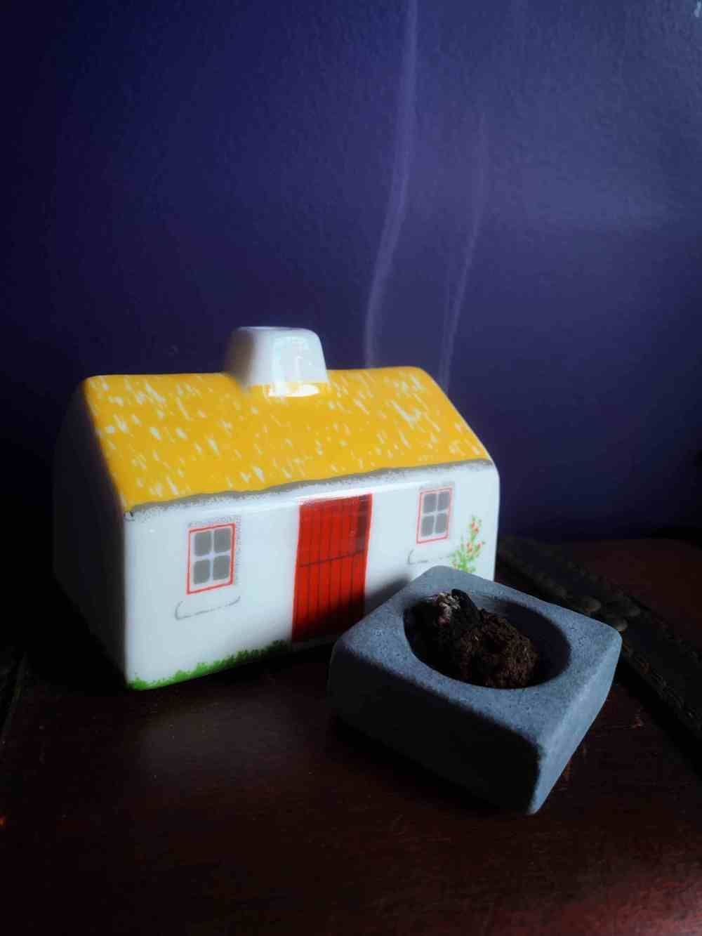 "Irish Turf Cottage Incense Burner //A Bog Witches Dream! This magical little witches cottage comes with 12 pieces of Irish Bog Turf incense. Invoke your inner bog witch with this wonderful incense and burner set. In Ireland they say ""That home is where the hearth fire is"" and by owning this turf-burning cottage you reconnect to your Irish roots. The Irish turf used in this set is processed naturally into incense. #witchcottage Irish Turf Cottage Incense Burner //A Bog Witches Dream! This mag #witchcottage"