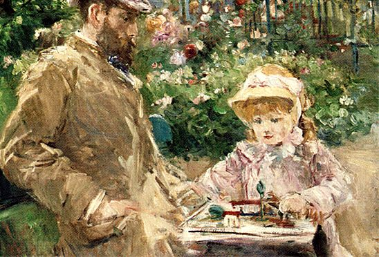 eug ne manet et sa fille dans le jardin de bougival vers 1881 berthe morisot eug ne manet et. Black Bedroom Furniture Sets. Home Design Ideas