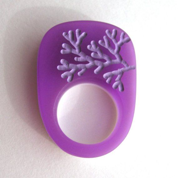 Amethyst Purple Ring Petite Acrylic Plexi White Violet by UnaOdd