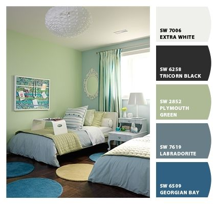 Girls Bedroom Ideas Blue And Green. Green and Blue Kids Room  Contemporary boy s room ICI Dulux Shy Blossom Sarah Richardson Design love plymouth green Paint colors from Chip It by Sherwin