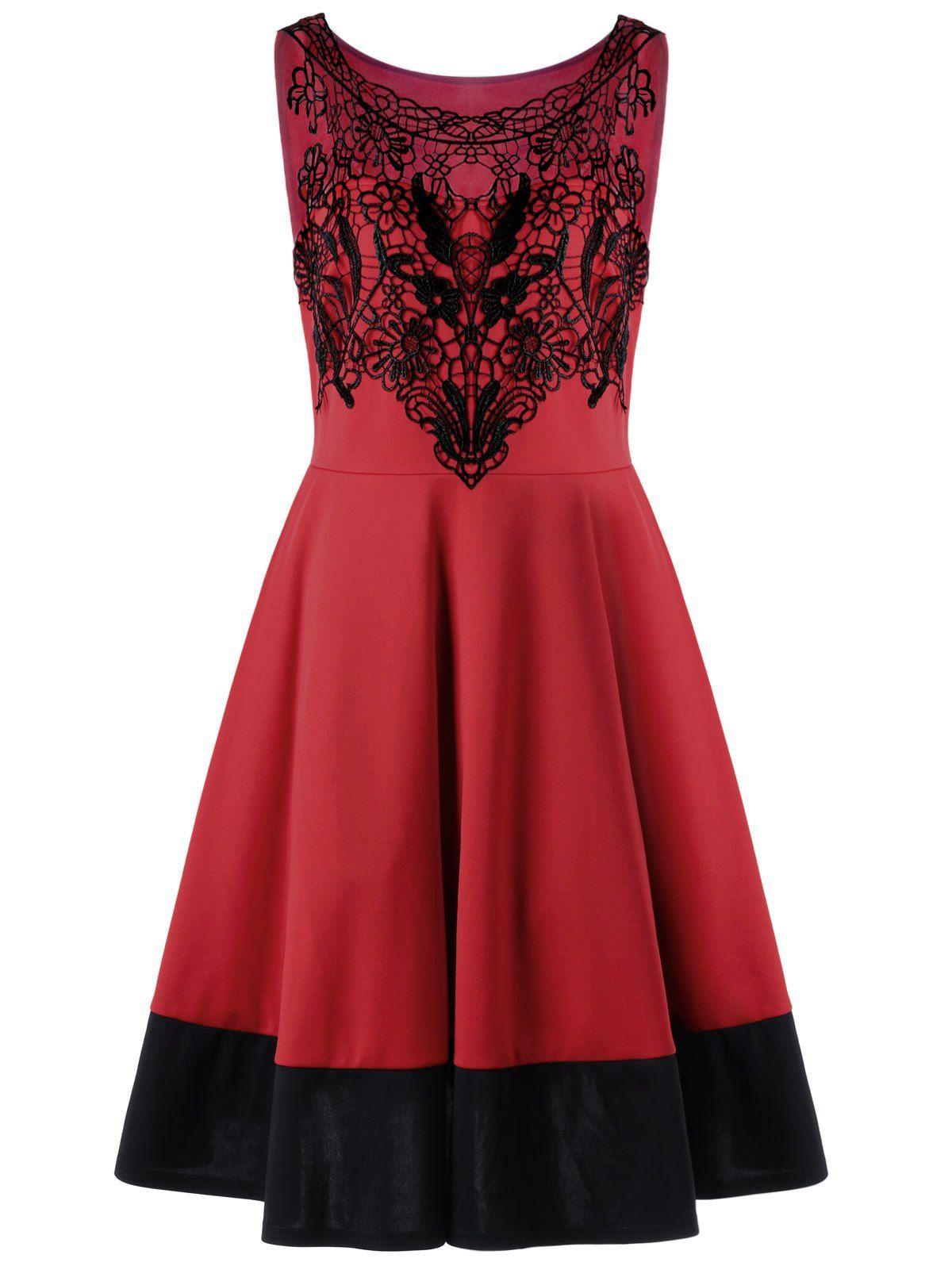 Crochet Insert Plus Size Cocktail Prom Dress Cheap Fashion Apple