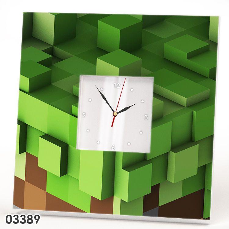 Minecraft Style Wall Clock Mirror Frame Game Fan Gift Kids Bedroom Decor  Watch