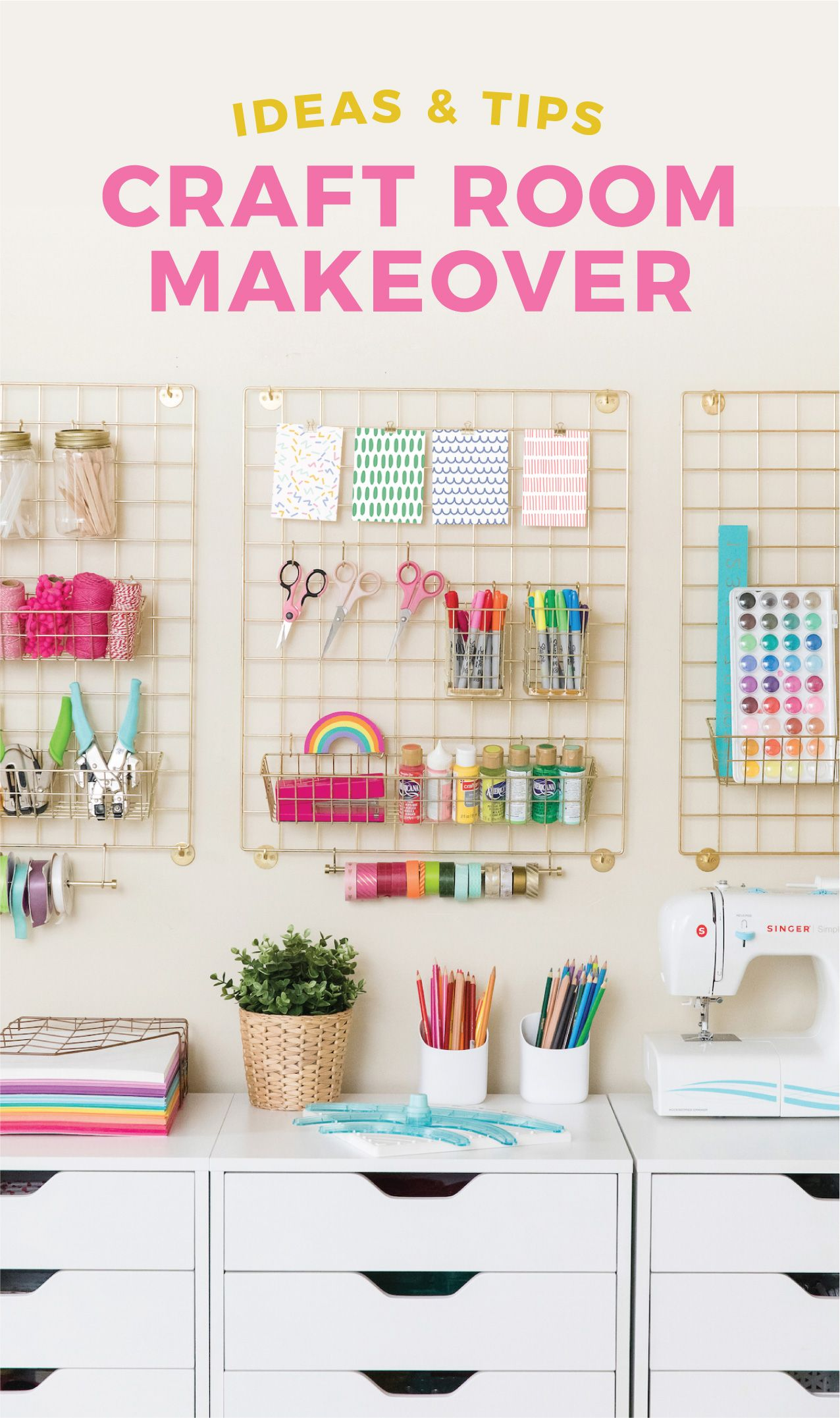 My new craft room reveal is here! Going over craft room storage, organization, and decor ideas to help create an inspiring, crafty space! #craftroommakeovers