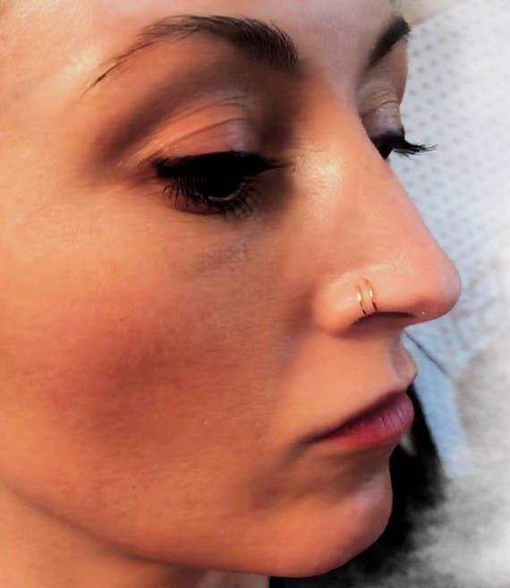 Triple Hoop Nose Ring for single pierced nose, 24, 22 or 20 gauge wire in silver, gold or rose gold, thin nose hoop