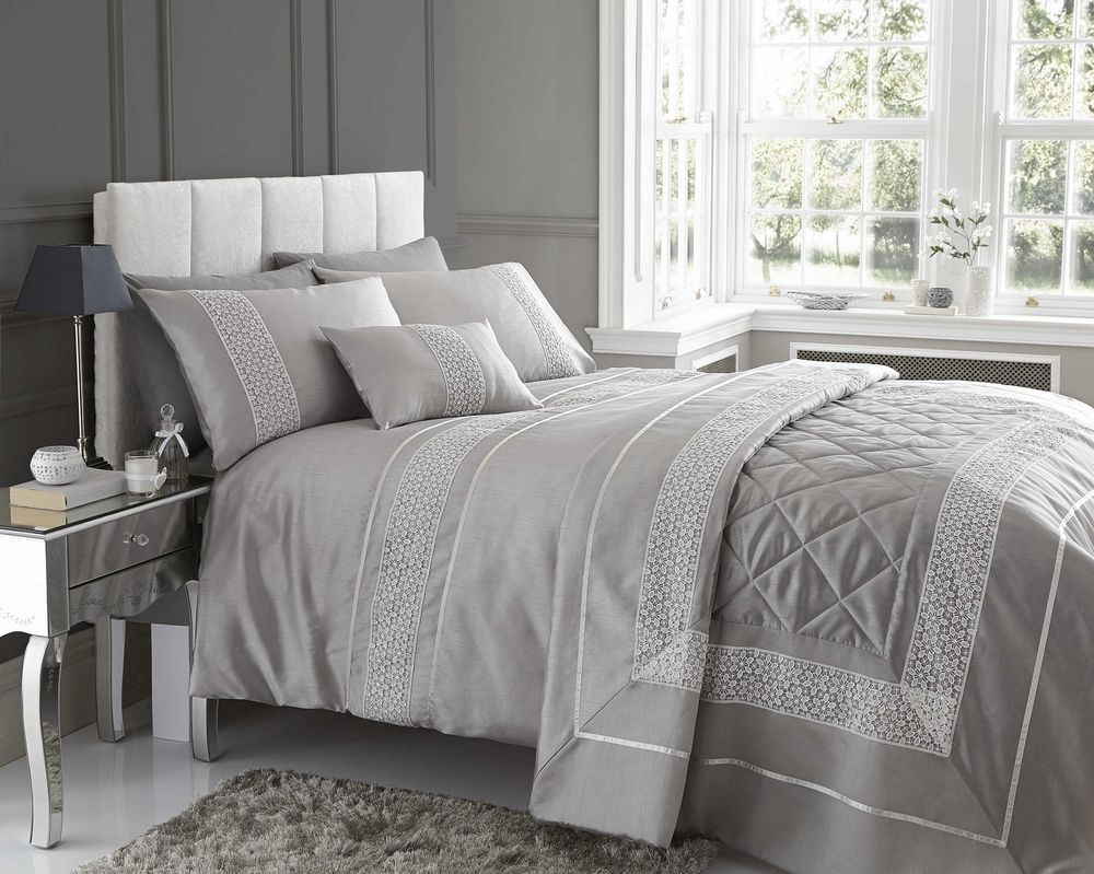 Silver Curtains For Bedroom Details About Stunning Design Emse In A Modern Silver Colour Quilt