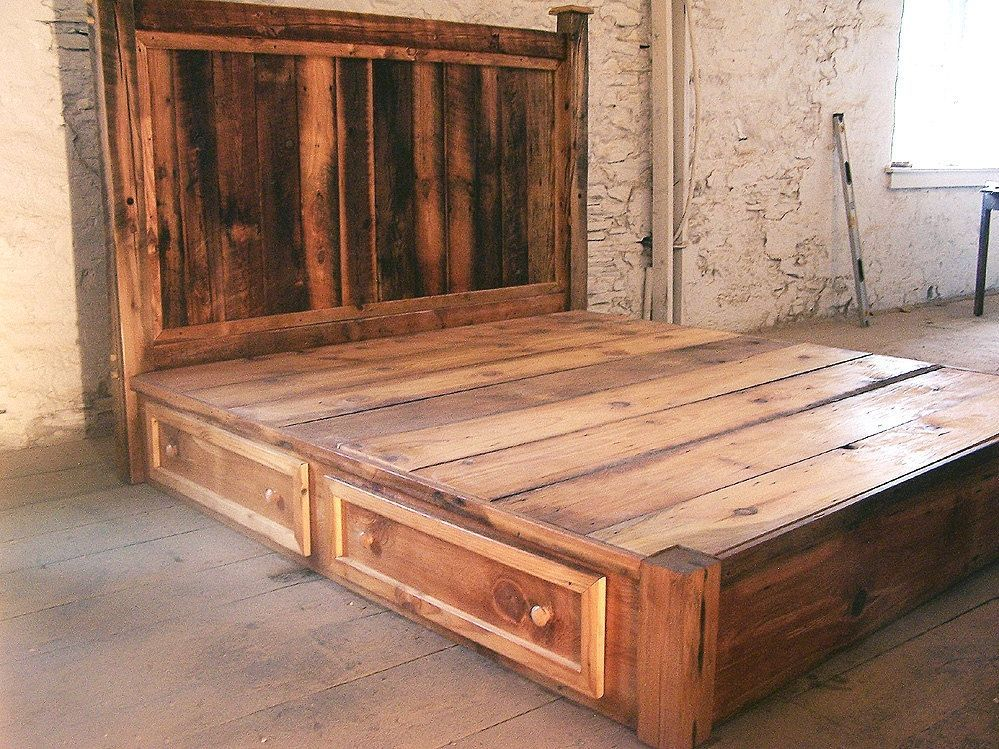 Custom Made Reclaimed Rustic Pine Platform Bed With Headboard And 4