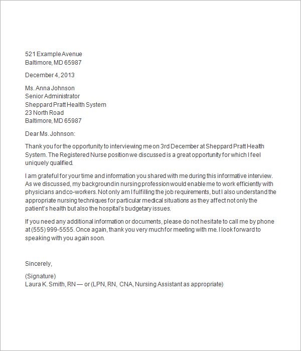 thank you letter after nursing job interview Letter sample
