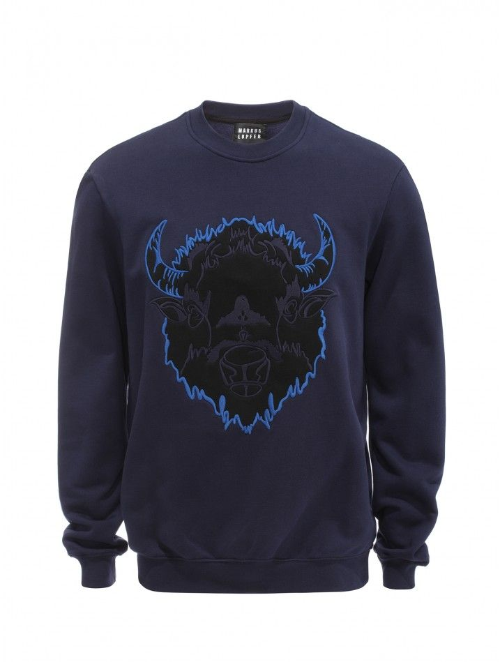 Navy Applique and Embroidered Bison Judd Sweatshirt - Men