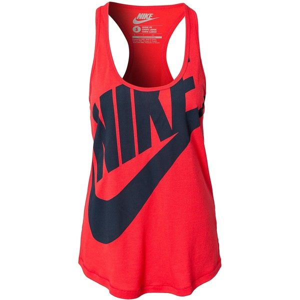 Nike Tee Racer Tank ($43) ❤ liked on Polyvore featuring tops, shirts, tank tops, tanks, red, vest, sports fashion, womens-fashion, red shirt and red tank top