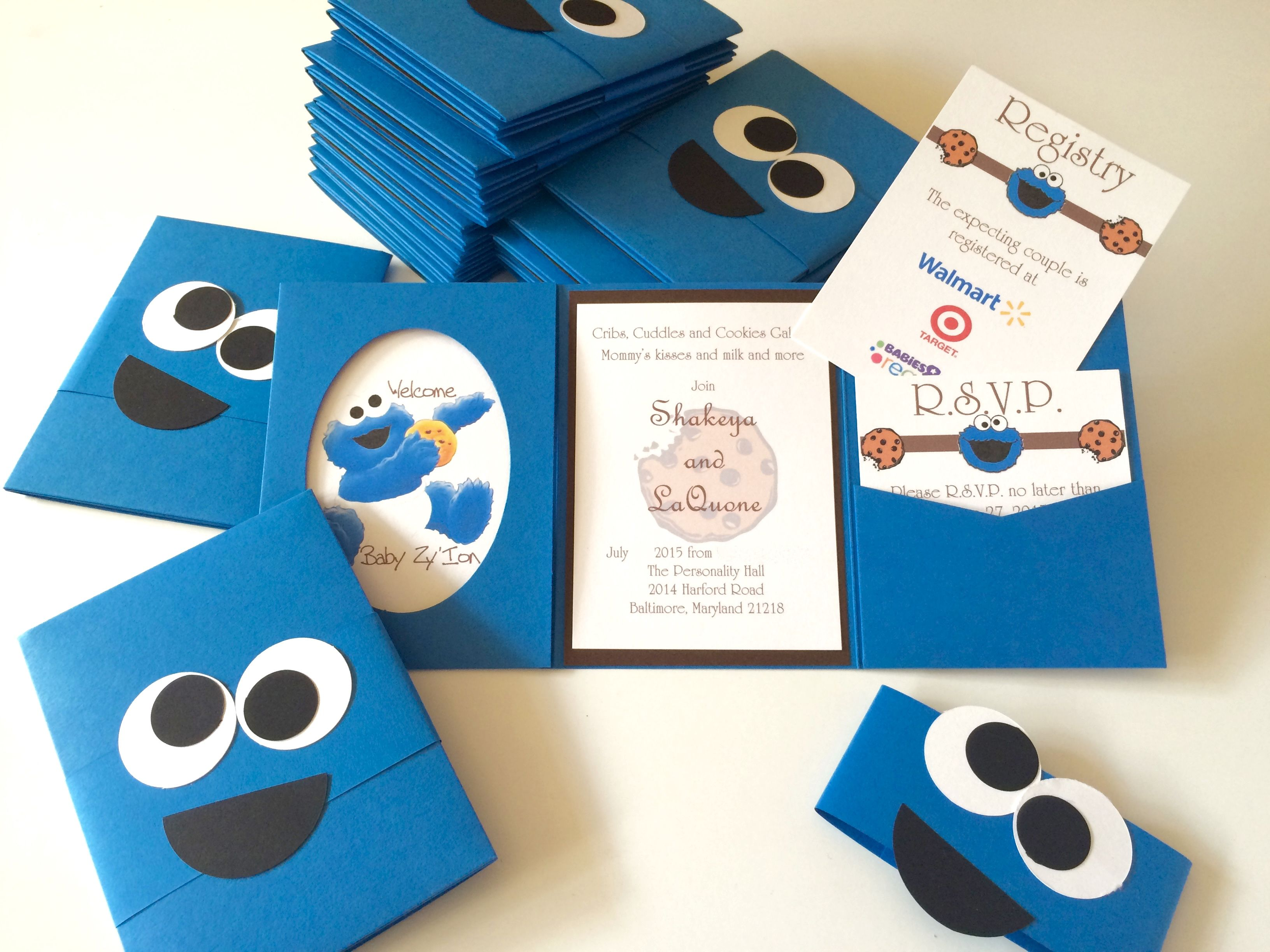 cookie monster baby shower invitations stationery designs by ddbd