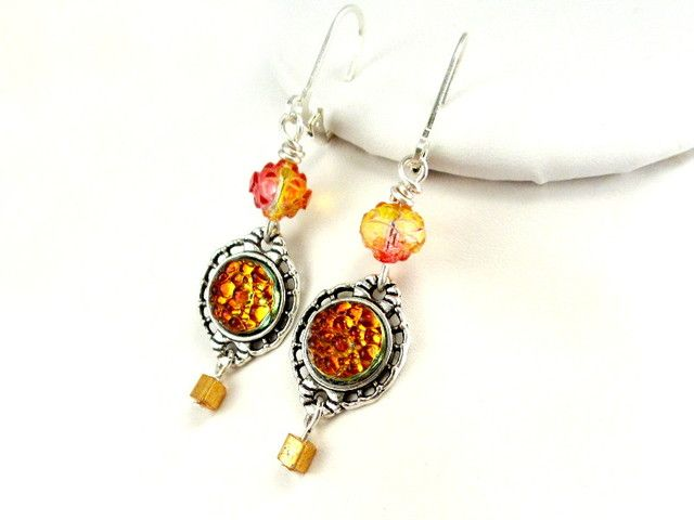 Molten Lava Bumpy Top Glass Cabochon Earrings. Starting at $9 on Tophatter.com!