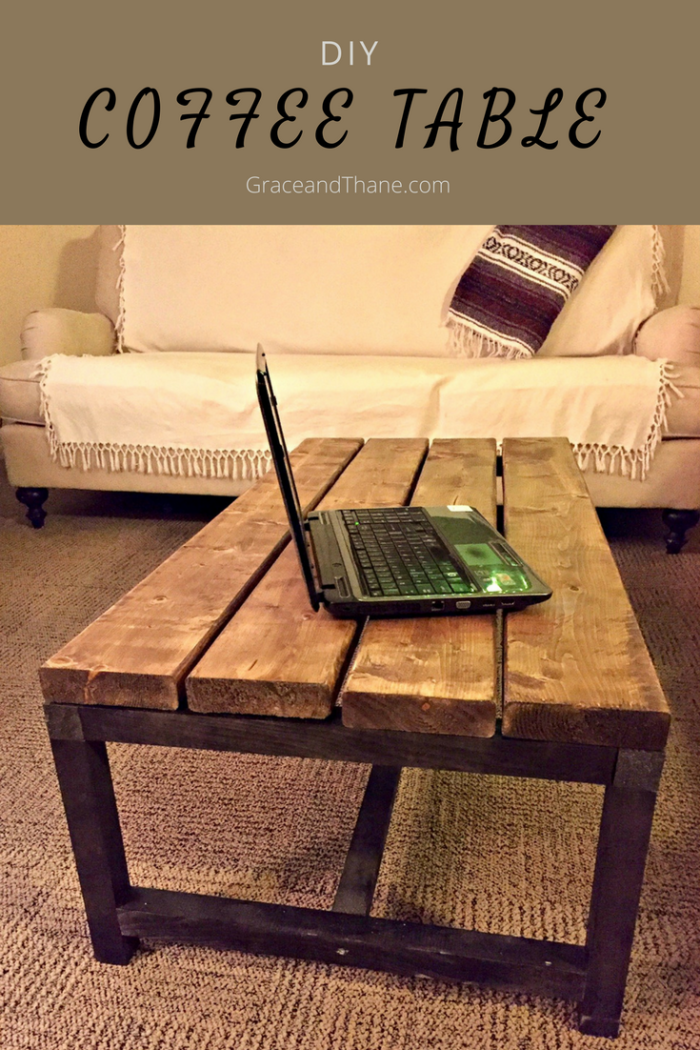 DIY Coffee Table-- Add shelf brackets for more stability and give it an extra touch!| graceandthane.com