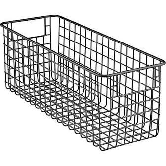 InterDesign Classico Deep Wire Storage Basket with Handles