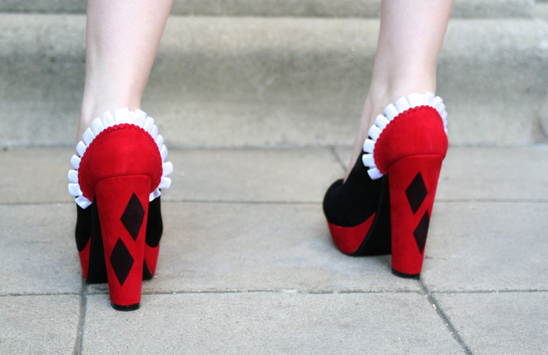 Harley Quinn Inspired Heels/Pumps by ScrappedLA on Etsy,+$65.00