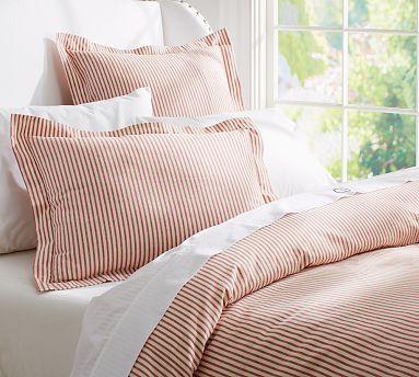 Vintage Ticking Stripe Duvet Cover Sham Red Guest Bedroom Red Duvet Cover Striped Duvet Covers Duvet Covers