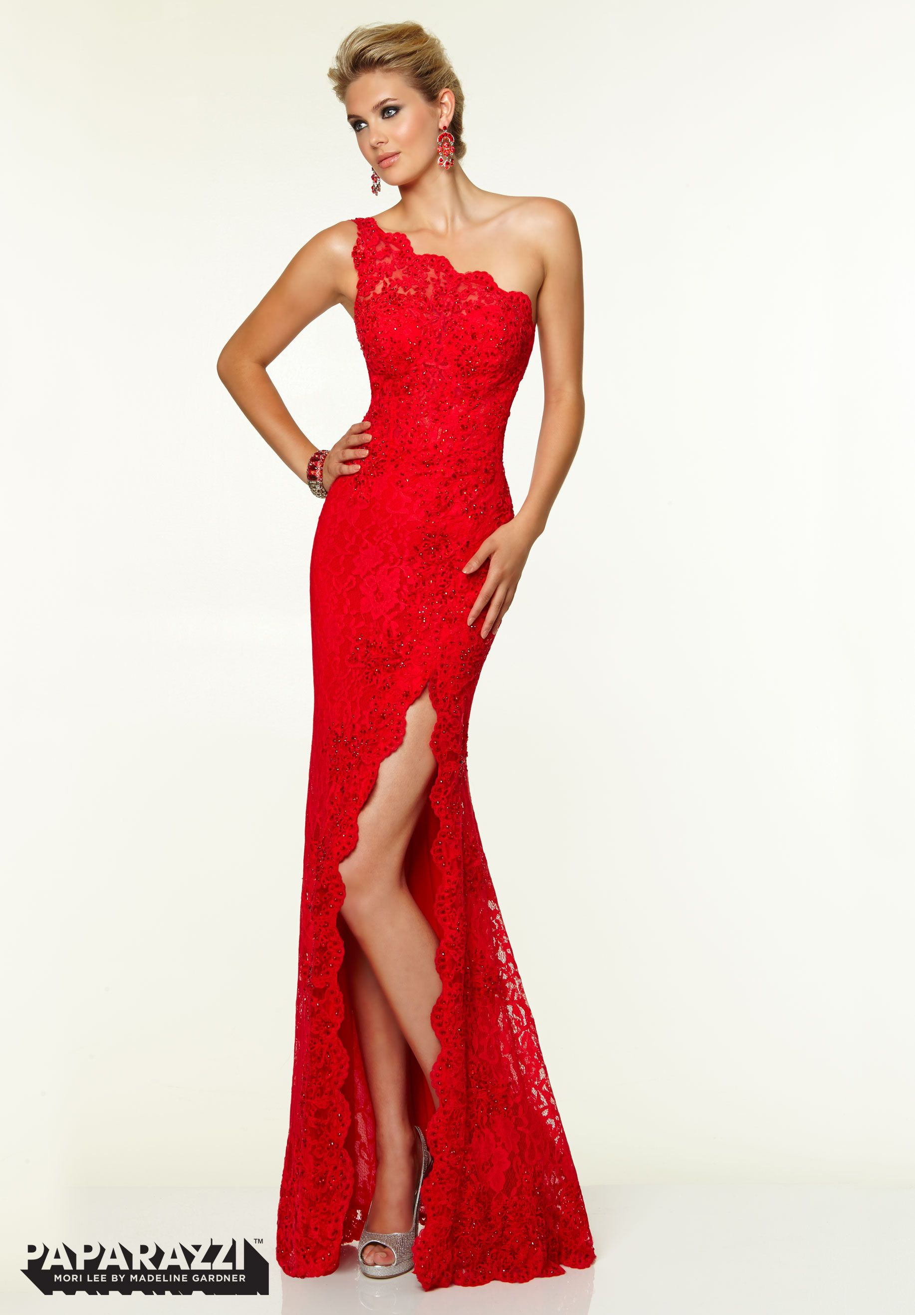 Show stopper Prom Dresses Gowns Beaded Stretch Lace Red