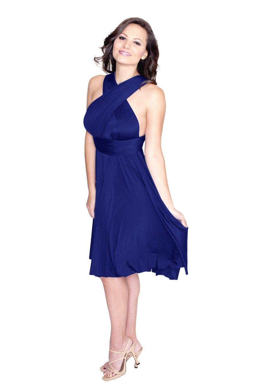 sakura royal blue midi convertible dress   infinity dress