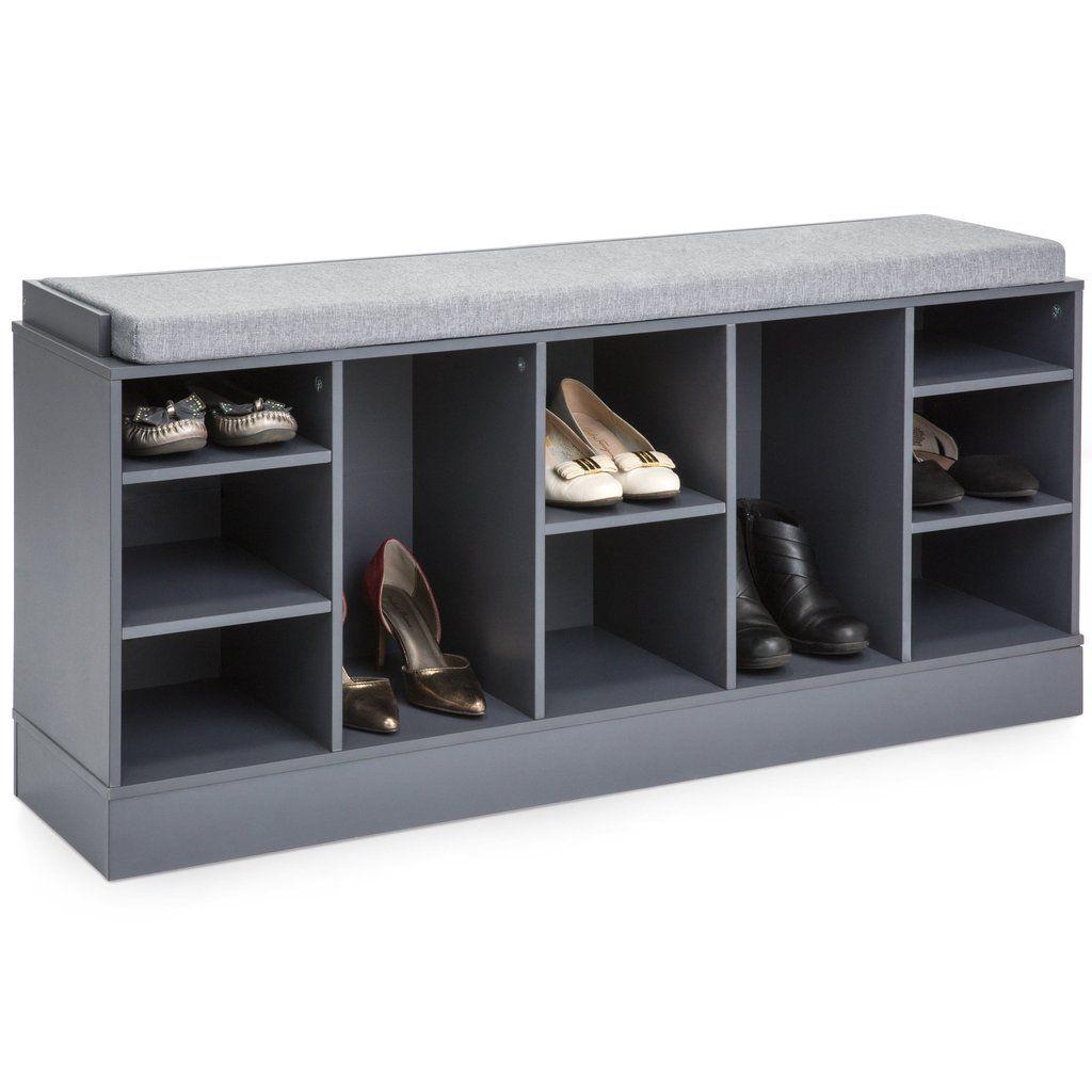 Shoe Storage Rack Bench W Padded Seat 10 Cubbies Shoe Rack Bench Shoe Storage Rack Bench With Shoe Storage